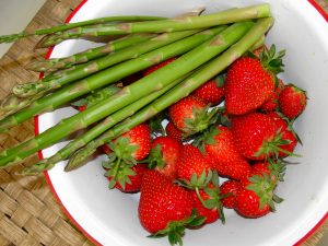 6. Asparagus and strawberries